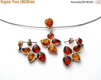 Sale Amber Necklace Set, Pierced Earrings, Sterling Silver, Vintage Set, Baltic Amber, Necklace Pendant, Dangle Earrings