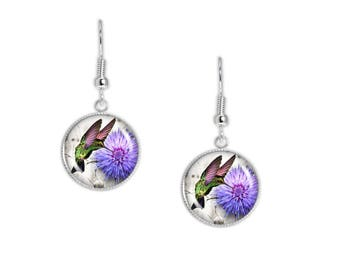 """Flitting Hummingbird Sipping from Purple Mum Illustration Dangle Earrings w/ 3/4"""" Charms Silver Tone"""