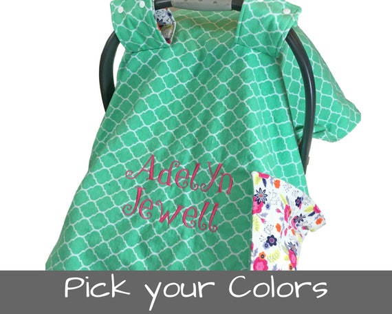 Personalized car seat cover baby gift infant car seat cover like this item negle Images
