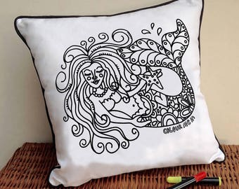 Mermaid CushionTo Colour In Doodle Art Fabric Permanent Pens Adult Colouring Fun Activity Colourful Design Both Sides Hours Of Fun
