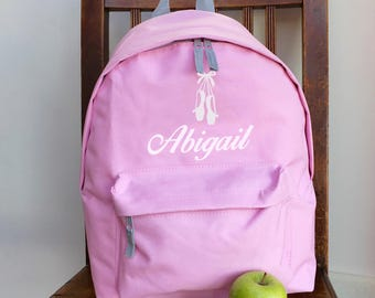 Personalised Ballet Backpack with ANY NAME Kids Children Nursery Gym School Student Rucksack