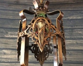 Antique Eagle Chandelier Tudor Mission Hanging Pendant Light 1930's Restored 1 of 2 Available