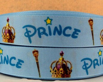 Prince Crown wand 22mm yellow blue sold by the yard grosgrain Ribbon star