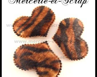 LOT 3 hearts embellishment Zebra faux fur 32 * 45mm