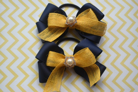 Pair of navy and yellow gold  hair ties - Kids / Toddlers / Girl pony tail holders / scrunchies
