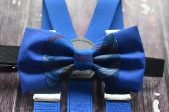 Festive Royal Blue Tartan / Plaid Bow Tie  for Baby, Toddlers and Boys (Kids Bow Ties) with Braces / Suspenders