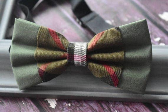 Festive Army Green Tartan / Plaid Bow Tie  for Baby, Toddlers and Boys (Kids Bow Ties) with Braces / Suspenders