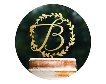 Custom Initial Cake Topper, Monogram Wreath Topper, Calligraphy Wedding Sign, Modern Wedding Decor, Personalized Wood Cake Topper (T406)