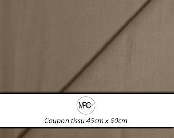 Fabric coupon cotton Poplin taupe 45 x 50cm