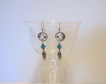 Silver Indian Moon and Stars Earrings