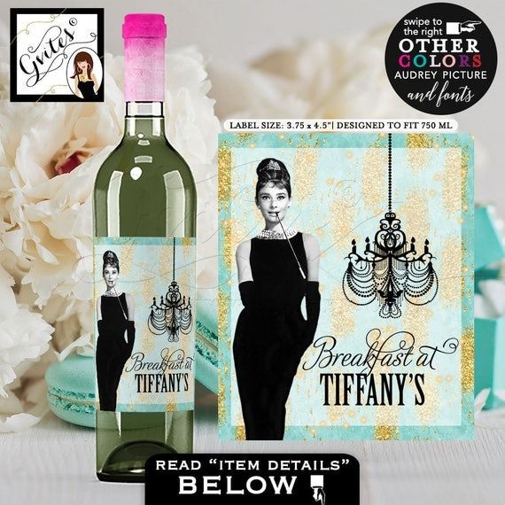 "Breakfast at Tiffany's Wine labels Audrey Hepburn PERSONALIZED wine bottle blue stickers, tags. DIGITAL {3.75x4.5""/4 Per Sheet}"