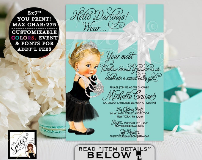 Baby and Co Breakfast at Tiffany's' BABY SHOWER, princess baby girl, black dress, tutu, diamonds pearls, blue party girls. PRINTABLE