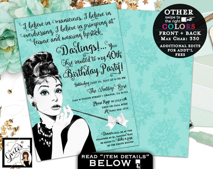 Breakfast at Tiffany's invitations 40th Birthday, Audrey Hepburn invitation, blue theme co party invites, any birthday, customizable colors