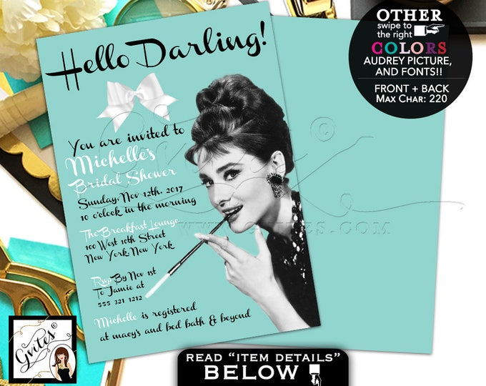 Breakfast at Tiffany's bridal shower invitation, Audrey Hepburn printable invites, hello darling! wedding shower, lingerie shower, DIGITAL.