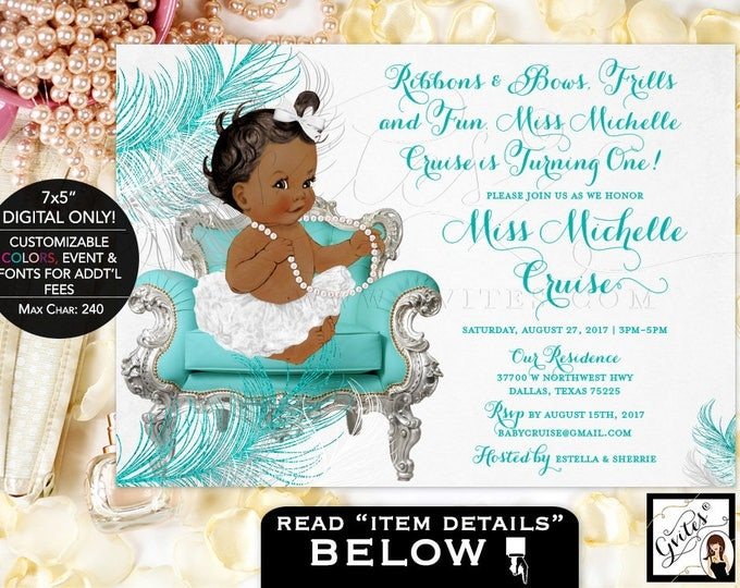 Turquoise Blue silver and white invitation, first birthday african american baby girl, teal and white, blue and silver digital invites, 7x5