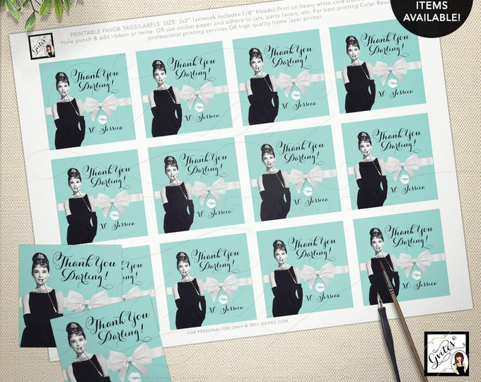 "Audrey Hepburn party, thank you gift tags, stickers, party favors breakfast at tiffany's bridal blue favor thank you tags 2x2"" 12/Per Sheet"