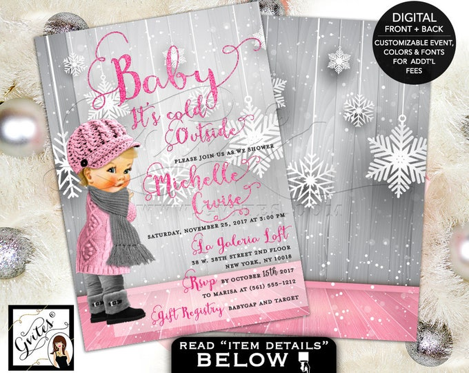 Baby Its Cold Outside, Baby Shower Invitation, pink and silver winter wonderland baby girl shower printable invitations, 5x7 double sided.