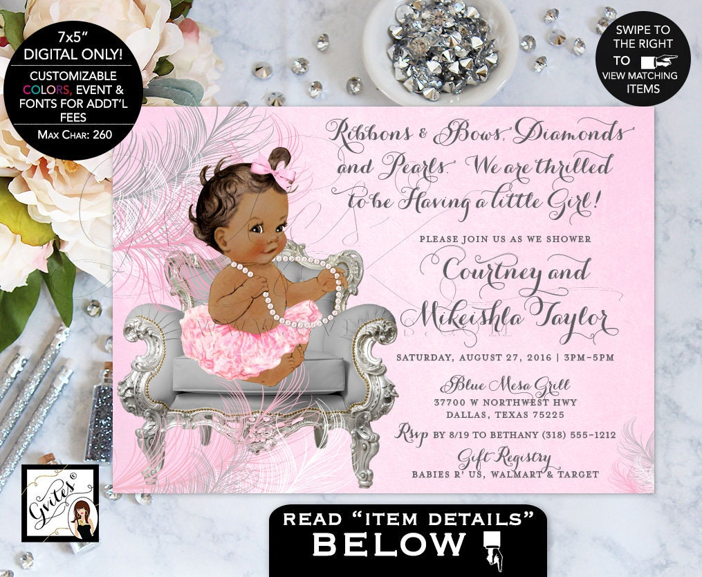 African American Baby Shower Invitation, Ribbons Bows, Diamonds Pearls, Baby  Girl, Silver White And Pink, Ethnic Shower Invites. {You Print}