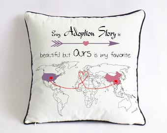 adoption announcement pillow case-custom adoption gift-adopted baby shower gift-every adoption story is beautiful,but ours is my favorite