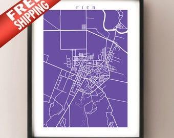 Fier Map Print - Albania Poster