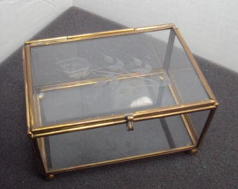 Mini Brass and Etched Glass Display Case Curio Jewelry Box Rose Floral Design Dresser