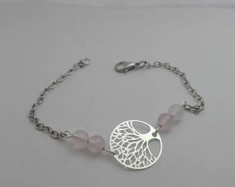 fancy bracelet silver tree of life and rose quartz - Valentine gift protection gems Valentine
