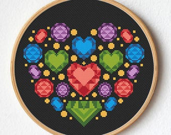 Gems heart cross stitch, Modern cross stitch pattern, Instant download, Gift idea, Wreath heart, Romantic, Wedding
