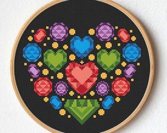Gems heart cross stitch, Modern cross stitch pattern, Instant download, Gift idea, Wreath heart, Romantic, Wedding