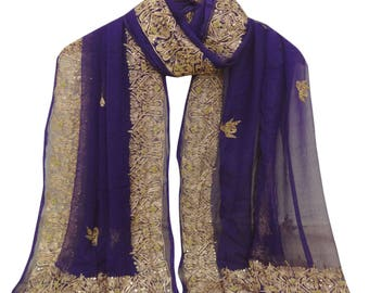Traditional Indian Clothing Dupatta Embroidered 100% Pure Chiffon Silk Blue Antique Decor Veil Hijab Scarf DPC3256