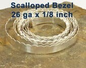 """26ga x 1/8"""" Scalloped Bezel Wire - Fine Silver - Choose Your Length"""