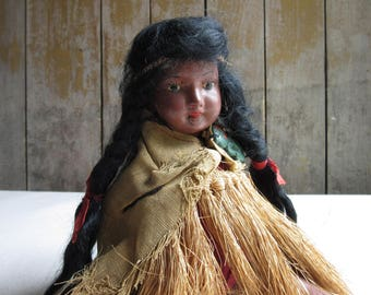 Vintage Maori Doll, New Zealand,Chin Tattoo,Painted Plaster, Jointed, Folk Art Doll, Ethnic,World,Souvenir Doll,Traditional Dress,Tiki Charm