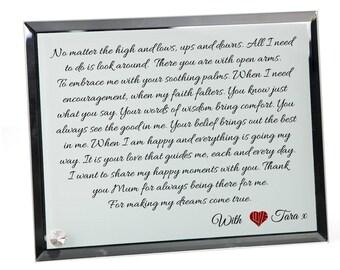 Mum Poem Personalised Glass Plaque - Always Here.