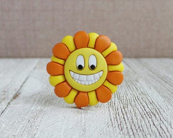 Flower - Grinning Face - Smile - Mood - Orange and Yellow Flower - Lapel Pin