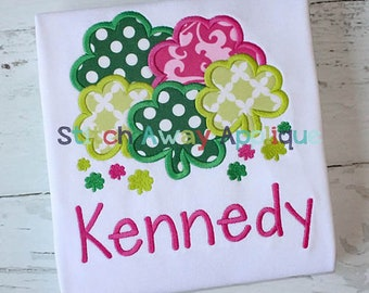 Personalized St. Patrick's Day Shamrocks Clovers Applique Shirt or Onesie Girl or Boy
