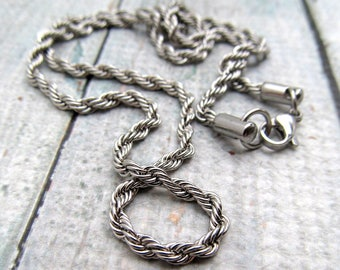 """Stainless Steel Rope Chain Necklace with Lobster Clasp, Finished Necklace, 3mm chain, Stainless Steel Findings 16"""" 18"""" 20"""" 22"""" 24"""" 30"""" (067)"""