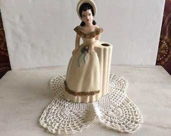 Very Old Fashioned Ceramic Lady Vase