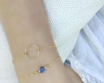 Layered Circle Bracelet, Personalized Birthstone 14k gold filled Karma Bracelet Swarovski Birthstone Eternity Sapphire Birthstone Jewelry