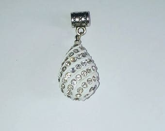 Drop Pendant 1 X white and rhinestones 25mm