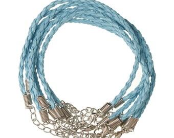 Bracelet blue imitation leather braided light 20cm