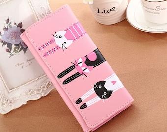 X 1 cat pink floral wallet