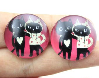 X 1 Mr and Mrs cat 20mm Cabochon
