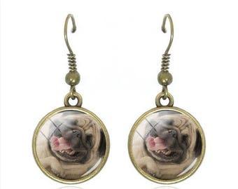 Dog 12 mm glass cabochon earrings