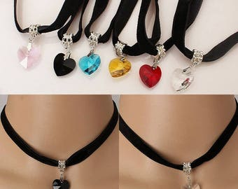 Black velvet necklace-Choker and heart