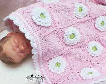 Granny Square Blanket Pattern - Baby Blanket crochet pattern - Delightful Dahlia Blanket - Flower Blanket Pattern - Baby Afghan Pattern Pdf