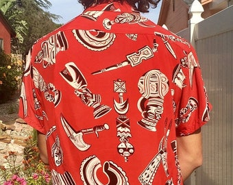 SALE 1940s Rare Alexander of Hollywood Silky Rayon Tribal Tiki Hawaiian Shirt L