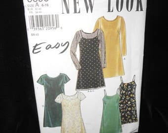Misses Dress New Look 6696 Womens 6-16 Camisole slip dress overlayer Easy pullover