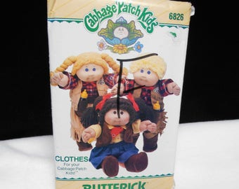 Cowboy Butterick 6826 Cabbage Patch Kids Clothes 16 inch dolls Cowgirl