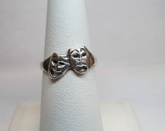 925 Sterling Silver Theater Masks Ring W #521