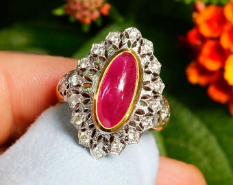 Vintage Ruby Ring with Diamonds 18K Two Tone Gold 4.65ctw Oval Cabochon Cut