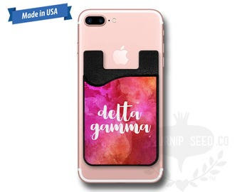 Delta Gamma Watercolor - Water Color - Phone Caddy - Sticker Pocket Wallet - Personalized Cell Phone Pocket PC 1081